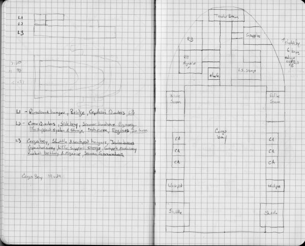 Scan of two pages of graph paper with preliminary sketchs of the ship's design and lower deck