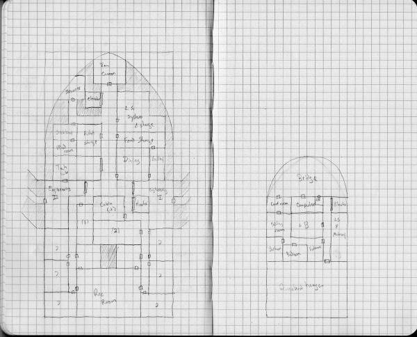 Scan of the two notebook pages with the sketch of the middle and upper decks of the ships