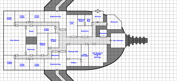 Middle crew deck plans with rooms and labels (and an ion cannon)