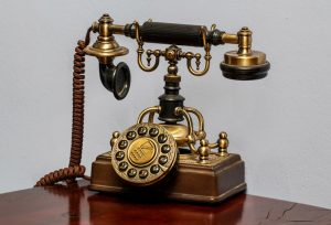 classic brass rotary dial telephone