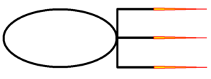 Obar Enterprises logo - The letters O and E stretch horizontally and touching with the flags of the letter E colored to look like ship engines.