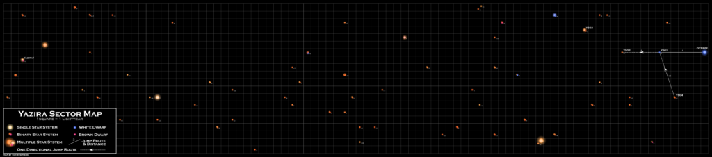94x20 ly map of the Yazira Sector containing 67 star systems